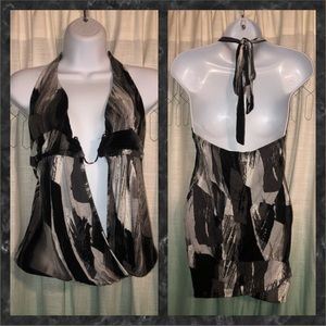 Body Central Black/Gray/White Halter Top W/Metal U